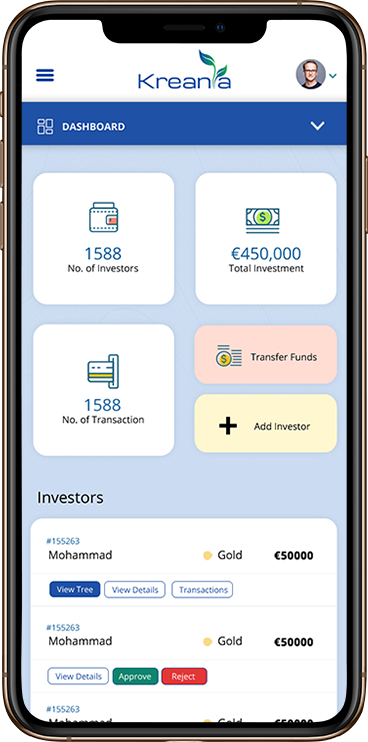 KREANIA Investors Platform Dashboard - Web Application Development - Element8