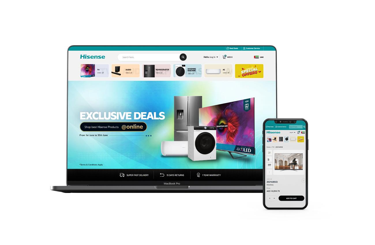 Hisense Ecommerce Store | Web & Mobile Application Developed by Element8 Dubai